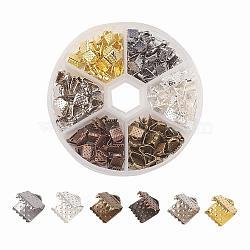 Embout ruban en fer, couleur mixte, 6x7mm, Trou: 2mm(IFIN-JP0007-03)