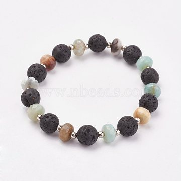 Natural Flower Amazonite & Lava Rock Stretch Bracelets, with Iron Beads, 2 inches(4.9cm)(X-BJEW-JB03071-05)