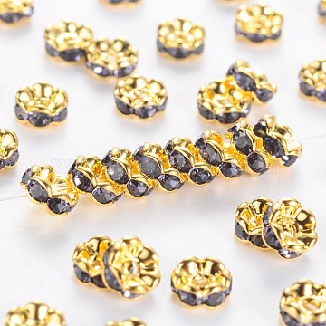 Brass Rhinestone Spacer Beads, Grade AAA, Wavy Edge, Nickel Free, Golden Metal Color, Rondelle, Tanzanite, 5x2.5mm, Hole: 1mm(RB-A014-L5mm-18G-NF)