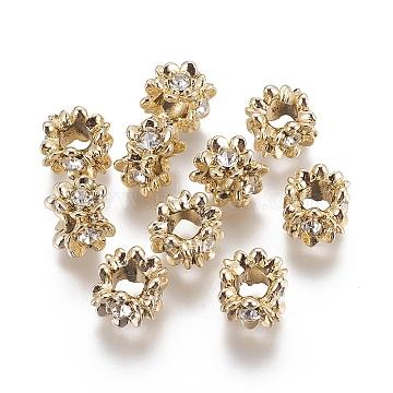 Flower Alloy Rhinestone European Beads, Large Hole Beads, Light Gold, 11x9mm, Hole: 5mm(ALRI-K036-02G)