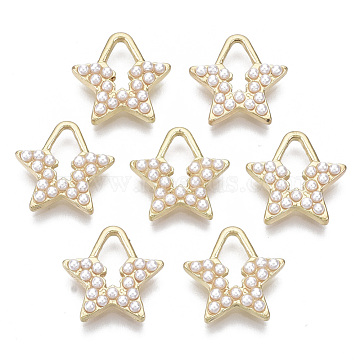 Alloy Charms, with ABS Plastic Imitation Pearl, Star, Light Gold, 13x13x2mm, Hole: 7x3.5mm(PALLOY-S132-095)