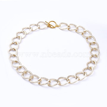 Aluminum Curb Chain Necklaces, with Alloy Toggle Clasps, Light Gold, 16.53 inches(42cm)(NJEW-JN02797-02)
