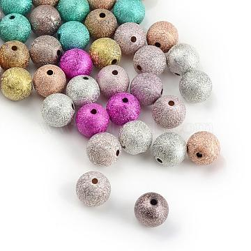Spray Painted Acrylic Beads, Matte Style, Round, Mixed Color, 8mm, Hole: 2mm; about 38pcs/10g(ACRP-Q018-8mm-M)