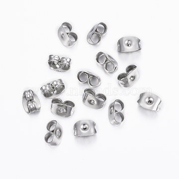 304 Stainless Steel Ear Nuts, Earring Backs, Stainless Steel Color, 6x4.5x3.5mm, Hole: 0.8mm(X-STAS-H376-83)