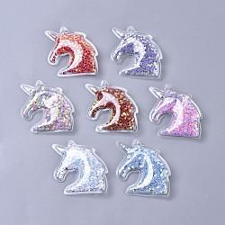 пластиковые подвески из пвх, с пайеткой / блестками внутри, единорог, cmешанный цвет, 47x43x9 mm, отверстия: 3 mm(KY-K008-E)