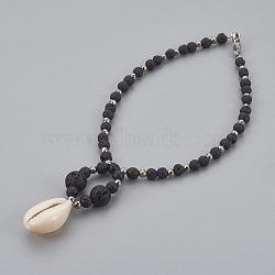 """Bracelets cheville cauris, avec des billes d'hématite galvanoplastie non magnétique, perles rondes de lave et 304 pince de homard en acier inoxydable, noir, 9-1/2"""" (24 cm)(AJEW-AN00241)"""