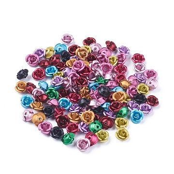 Aluminum Beads, Frosted, Long-Lasting Plated, 3-Petal Flower, Mixed Color, 8~8.5x5mm, Hole: 1mm(FALUM-T001-02B-M)