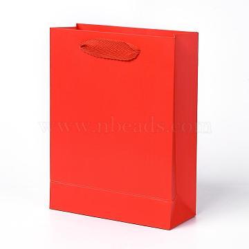 Sacs en papier kraft, avec poignées, sacs-cadeaux, sacs à provisions, rectangle, rouge, 20x15x6.2 cm(AJEW-F005-03-B)