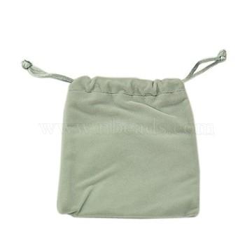 Velvet Jewelry Bags, Gray, 11.8x10cm(X-TP-E001-2)