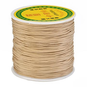 Braided Nylon Thread, Chinese Knotting Cord Beading Cord for Beading Jewelry Making, BurlyWood, 0.8mm, about 100yards/roll(NWIR-R006-0.8mm-062)