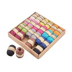 Corde de chanvre, chaîne de chanvre, ficelle de chanvre, couleur fixe, 2mm; 10m / rouleau; 12 couleurs / boîte, 2roll / couleur(OCOR-L039-G)