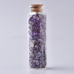 Glass Wishing Bottle, For Pendant Decoration, with Amethyst Chip Beads Inside and Cork Stopper, 22x71mm(DJEW-L013-A15)