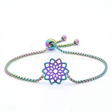"""Bracelets réglables en 201 acier inoxydable, bracelets bolo, avec des chaînes de boîte, fleur, multicolore, 9-5/8"""" (24.5 cm)(STAS-S105-JN657)"""