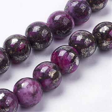 12mm Fuchsia Round Pyrite Beads