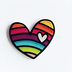 Acrylic Safety Brooches, with Iron Pin, Heart, Colorful, 33.5x40.5x8.5mm; Pin: 0.7mm(JEWB-WH0001-17)