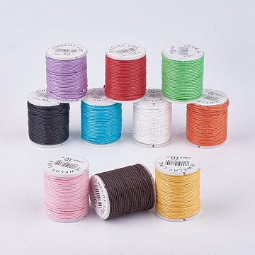 Braided Waxed Cords, Mixed Color, 1mm, about 9.84 yards(9m)/roll, 10 rolls/bag(YC-G004-A)