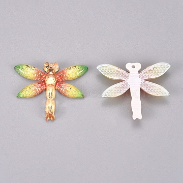 Plastic Pendants, Dragonfly, Colorful, 26.5x31.5x4.5mm, Hole: 1.2mm(KY-TAC0005-03A)