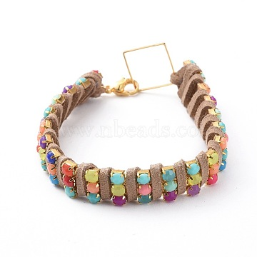 Chain Bracelets, with Iron Acrylic Claw Chains, Faux Suede Cord, Brass Linking Rings and 304 Stainless Steel Lobster Claw Clasps, Golden, Colorful, 7-1/4 inches(18.5cm); 12.5x5mm(BJEW-JB04687-03)