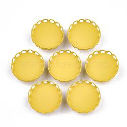 Paramètres de cabochon de glissière de fer environnementale peinte par pulvérisation d'environnement, pour bande de cheveux et décoration cravate, plat rond, or, plateau: 18 mm; 19x8 mm, Trou: 3.5x5mm(IFIN-T009-14B-05)
