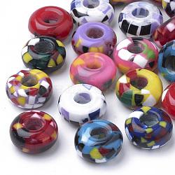 Perles en résine, Perles avec un grand trou   , rondelle, couleur mixte, 14x7.5~8mm, Trou: 5.5mm(RPDL-S013-03)