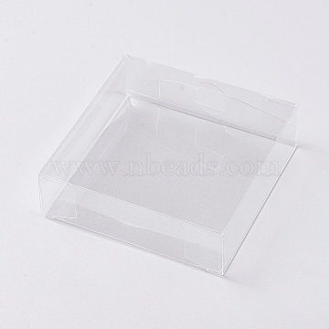 Foldable Transparent PVC Boxes, for Craft Candy Packaging Wedding Party Favor Gift Boxes, Square, Clear, 10x10x3cm(CON-WH0069-56)