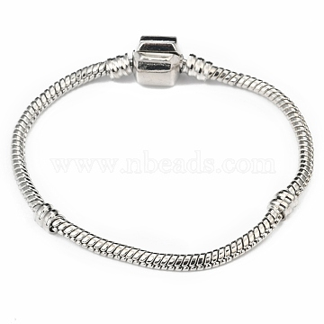 Brass European Style Bracelets, with Brass Clasp, Clasp without Sign, Platinum, 15cm(excluding the length of clasp); 3mm(PPJ003Y)
