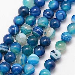 Natural Striped Agate/Banded Agate Bead Strands, Round, Grade A, Dyed & Heated, DeepSkyBlue, 12mm, Hole: 1mm; about 32pcs/strand, 15