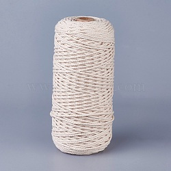 Cotton String Threads for Jewelry Making, Macrame Cord, Creamy White, 2mm; about 200m/roll(OCOR-WH0034-B-01)