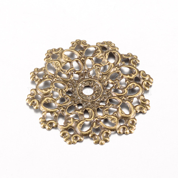 Iron Links, Etched Metal Embellishments, Flower, Antique Bronze, 30.5~31x30x1.5~2mm, Hole: 1mm(X-IFIN-Q118-14AB)