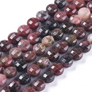 Natural Rhodonite Beads Strands, Faceted, Flat Round, 8.2~8.5x6mm, Hole: 1mm; about 48pcs/strand, 15.43 inches(39.2cm)(G-E560-U01)