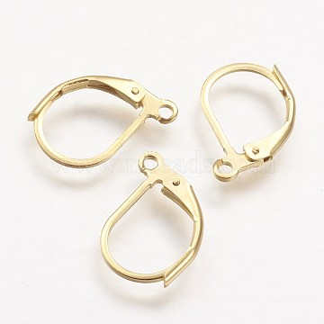 304 Stainless Steel Leverback Earring Findings, with Loop, Golden, 15x10x2mm, Hole: 1mm; pin: 0.7x0.9mm(STAS-F041-48)