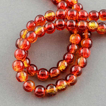 Spray Painted Crackle Glass Beads Strands, Round, Tomato, 10mm; Hole: 1.3~1.6mm, 31.4 inches(X-CCG-Q002-10mm-10)