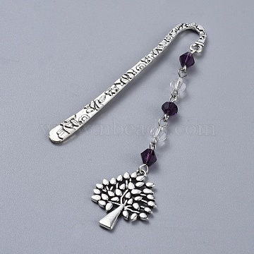 Alloy Bookmarks, with Glass Beads, Tree, Antique Silver, Purple, 101.5mm(AJEW-JK00150-01)