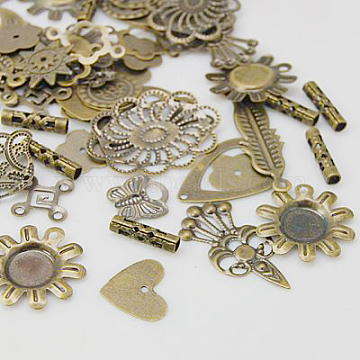 Brass Findings, Assorted Shape and Style, Antique Bronze, 8~30x8~19mm(KK-D059-1)