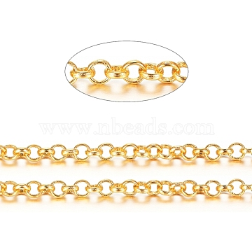 Brass Rolo Chains, Belcher Chains, Soldered, Long-Lasting Plated, with Spool, Cadmium Free & Nickel Free & Lead Free, Golden, 3x1mm, about 16.4 Feet(5m)/roll(X-CHC-S008-002D-G)