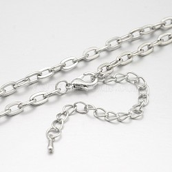 Iron Cable Chains Necklace Making, with Brass Lobster Claw Clasps and Iron End Chains, Platinum, 19.6 inches(MAK-J009-07P)