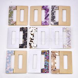 Boucles en aluminium et acétate de cellulose (résine), rectangle, couleur mixte, 70x59.5x4.5~5mm, Trou: 44.5x11.5mm(ALUM-S016-04)