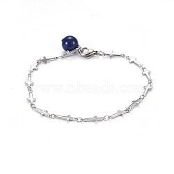 304 cheville en acier inoxydable à maillons croisés, avec pendentifs en lapis lazuli naturel et pinces à homard, 8-3 / 8 (21.2 cm)(AJEW-AN00254-02)