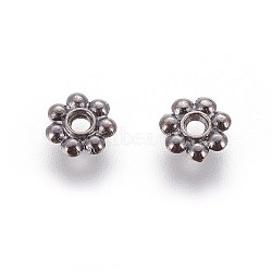 Tibetan Style Spacer Beads, Flower, Gunmetal, 6x1.3mm, Hole: 2mm; Lead Free & Cadmium Free(X-K08Y7051)