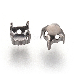 Supports de griffe en laiton avec strass, carrée, sans nickel, gunmetal, adapter pour 4x4 mm rhinstone; 5x5x5 mm, Trou: 1mm(KK-M055-5mm-B-NF)