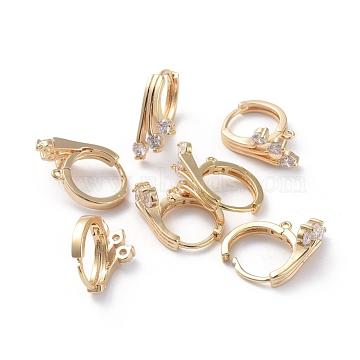 Accessoires de boucle d'oreilles en laiton, avec boucle et zircone cubique transparente, Plaqué longue durée, véritable plaqué or, 18x16x8.5mm, trou: 0.8x1 mm; broches: 1 mm(ZIRC-L077-036G)