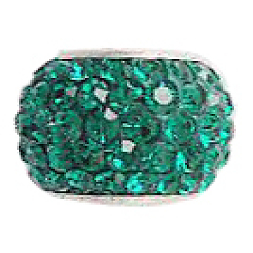 Austrian Crystal European Beads, Large Hole Beads, with 925 Sterling Silver Single Core, Rondelle, 205_Emerald, 11x7.5mm, Hole: 4.5mm(N0R4T161)