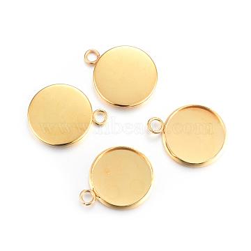 304 Stainless Steel Pendant Cabochon Settings, Plain Edge Bezel Cups, Flat Round, Golden, 20x16x2mm, Hole: 2.2mm(X-STAS-F191-14G-D)