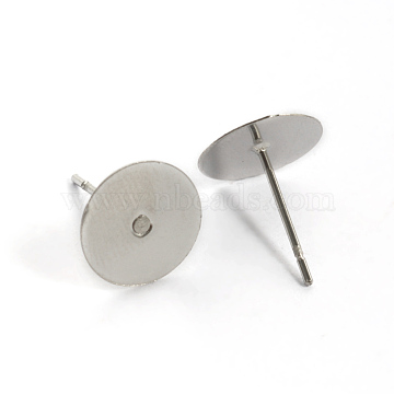304 Stainless Steel Stud Earring Settings, Flat Round, Stainless Steel Color, Tray: 10mm; 12mm, Pin: 0.8mm(STAS-K124-09P)