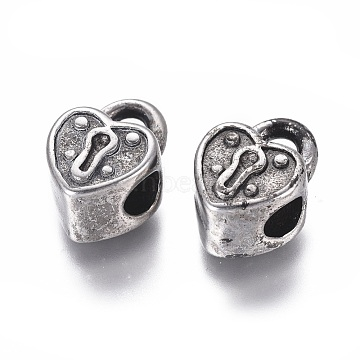 304 Stainless Steel European Beads, Large Hole Beads, Heart Lock, Antique Silver, 15.5x11x8.5mm, Hole: 5mm(STAS-I121-12AS)