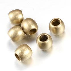 Peint à la bombe acrylique perles européennes, Style mat, baril de grosses perles de trou, or, 9x8.5mm, Trou: 5mm(X-ACRP-S667-16)