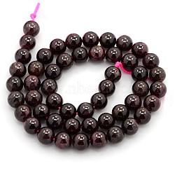 "Pierres précieuses naturelles perles grenat brins, rond, environ 8 mm, trou: 1 mm; environ: 51 pcs / brin, 16.1""(G-O014-8mm-01)"