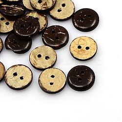 Boutons de noix de coco, 2-trou, plat rond, coconutbrown, 13x3mm, Trou: 2mm(X-COCO-I002-089)