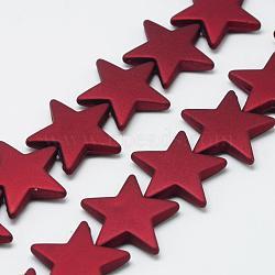 Chapelets de perles en acrylique de style caoutchouté, étoiles, DarkRed, 26x27.5x5.5mm, Trou: 1.5mm(MACR-S857-05)