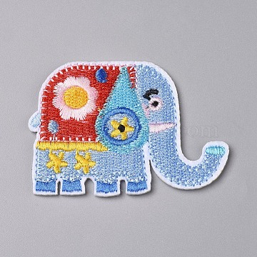 Computerized Embroidery Cloth Iron on/Sew on Patches, Costume Accessories,  Appliques, Elephant, Light Sky Blue, 60.5x44x1.5mm(X-DIY-F043-44)